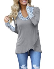 Long Sleeves Patchwork Wrap Shirt