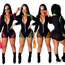 Sexy Curvy Long Sleeves Lined Rompers