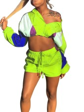 Long Sleeve Crop Top and Shorts Two Piece Tracksuit