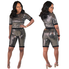 Sexy Two-piece Bling Bling Short Sleeve Top and Shorts Set