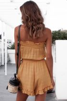 Yellow Ruffles Strapless Rompers