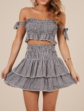 White and Black Plaid Crop Top and A-line Skirt