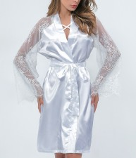 White Silk Sleepwear with Lace Sleeves