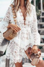 White Lace Long Sleeve Cover Ups