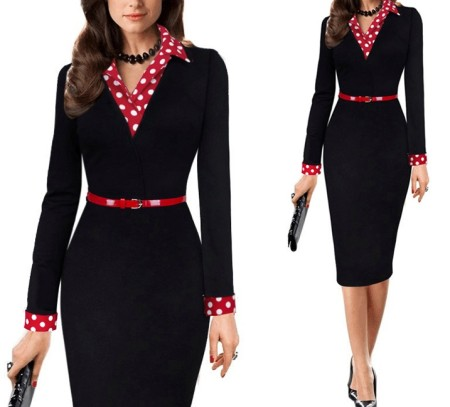 Print Black Office Dress with Full Sleeves