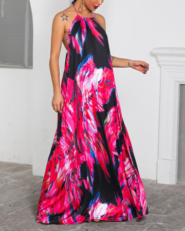 Print Colorful Backless Halter Long Dress