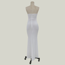 White Applique Straps Mermaid Wedding Dress