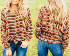 Loose Fitting Stripped Long Sleeve Shirt
