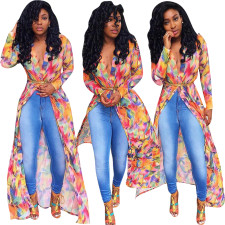 Print Long Sleeves Long Cover Ups