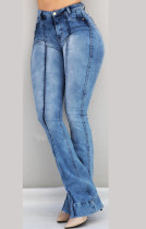 Blue Washing Out High Waist Wide Jeans