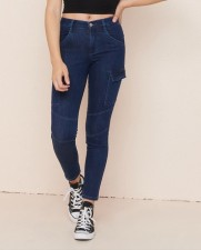 Young Fashion Blue Tight Pocket Jeans