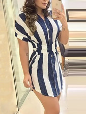 White and Blue Stripped Tall Blouse
