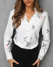 White Floral Long Sleeves Chic Blouse