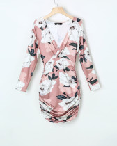 Flower Print Wrapped Mini Dress with Sleeves