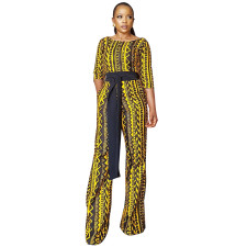 African Print Black and Yellow Formal Jumpsuit