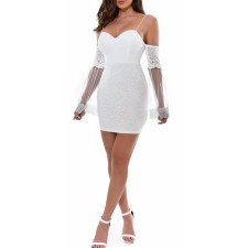 White Lace Straps Party Dress with Mesh Sleeves