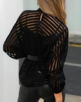 Black Stripped Mesh Blouse with Pop Sleeves