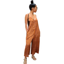 Stripped Straps Casual Loose Jumpsuit