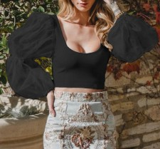 Vintage Plung Crop Top with Pop Sleeves
