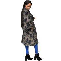 Camou Green Long Coat with Wide Sleeves