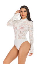 Long Sleeve Lace Sexy Bodysuit with Wide Cuffs