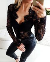 Black Lace Upper Long Sleeve Sexy Bodysuit