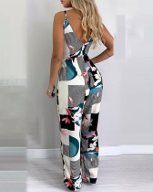 Printed Sleeveless Jumpsuit with Belt
