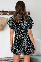 Casual Print Wrap Dress with Short Sleeves