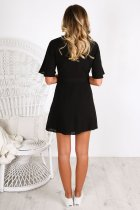 Casual Wrap Mini Dress with Short Sleeves