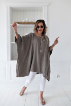 O-Neck Irregular Long Boho Shirt with Wide Sleeves
