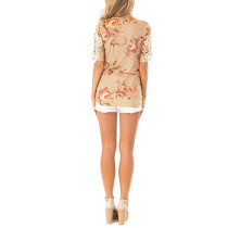 O-Neck Flower Shirt with Detailed Sleeves