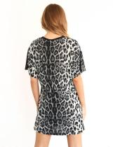 O-Neck Leopard Shirt with Short Sleeves