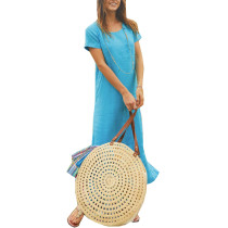 O-Neck Long Boho Dress with Short Sleeves