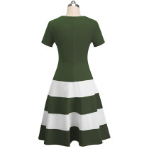Short Sleeve O-Neck Contrast Vintage dress