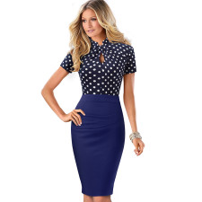 O-Neck Floral Office Dress with Short Sleeves