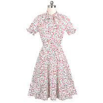 Short Sleeve Polka Vintage Dress