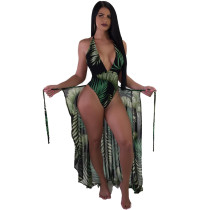 Print Green One-Piece Backless Swimwear and Cover Up