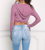 Lace Up Long Sleeve Crop Hoody Top