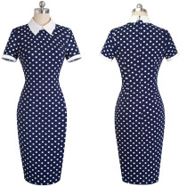 White and Blue Polka Slimming Office Dress