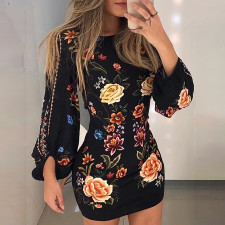 Black Floral Mini Dress with Pop Sleeves