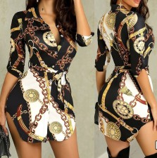 Print Retro Long Sleeve Tall Blouse with Belt
