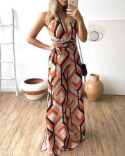 Colorful Geommetric Sleeveless Jumpsuit with Belt