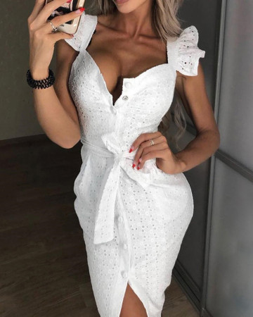 White Button Up Party Dress with Belt