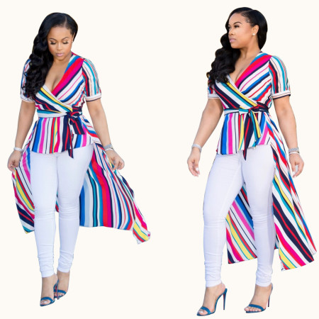 Colorful Stripped High Low Top with Belt