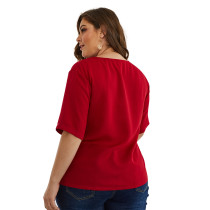Camisa Plus Size Red Zipper Summer