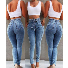 Stylish Tight Fitting High Waist Jeans