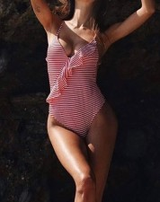 One-Piece Stripped Straps Swimwear