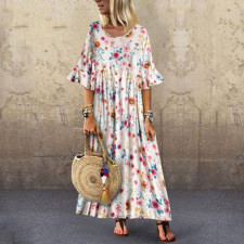 O-Neck Floral Boho Long Dress