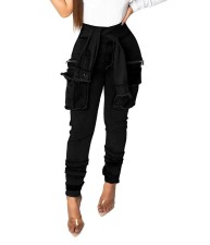 Stylish High Waist Tight Pocket Jeans