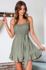Casual A-Line Straps Ruffle Dress